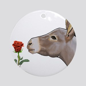 Mini donkey smelling a long stem red rose Ornament