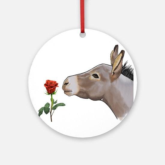 Mini donkey smelling a long stem red rose Ornament