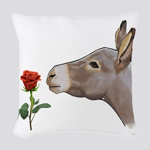 Mini donkey smelling a long stem red rose Woven Th