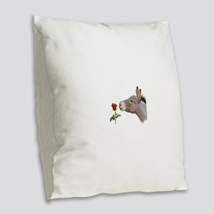 Mini donkey smelling a long stem red rose Burlap T