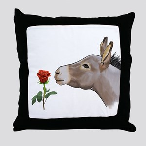Mini donkey smelling a long stem red rose Throw Pi