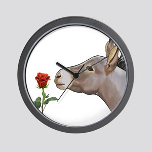 Mini donkey smelling a long stem red rose Wall Clo