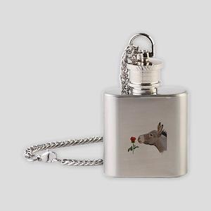 Mini donkey smelling a long stem red rose Flask Ne