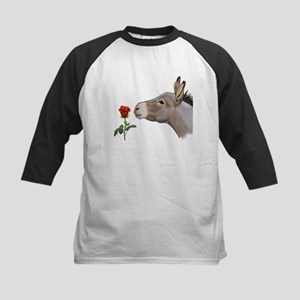 Mini donkey smelling a long stem red rose Baseball