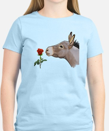Mini donkey smelling a long stem red rose T-Shirt