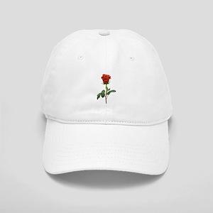 long stem red rose for valentines day Baseball Cap
