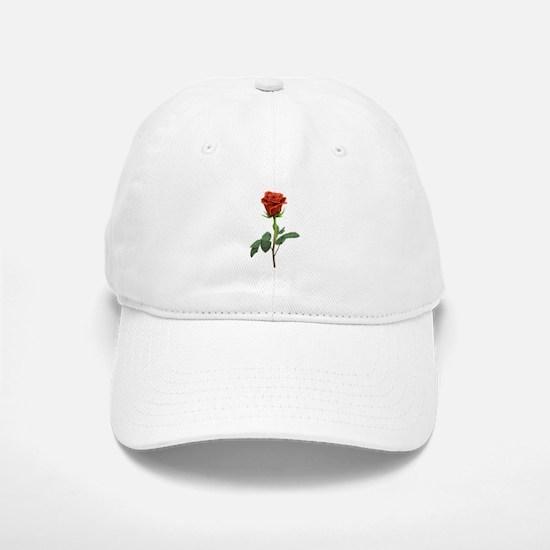 long stem red rose for valentines day Baseball Baseball Baseball Cap