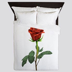long stem red rose for valentines day Queen Duvet