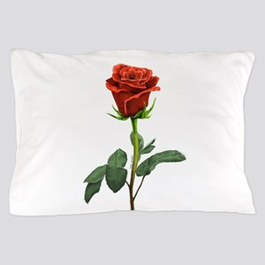 long stem red rose for valentines day Pillow Case