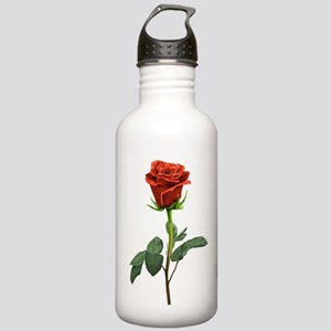 long stem red rose for valentines day Water Bottle