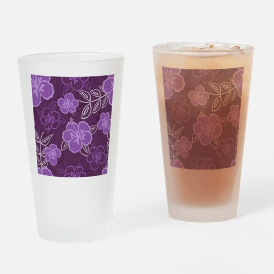 Hawaiian Hibiscus Pattern Purple Drinking Glass