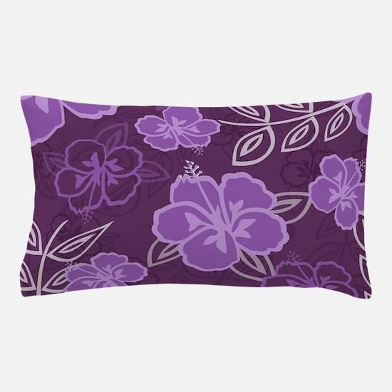 Hawaiian Hibiscus Pattern Purple Pillow Case