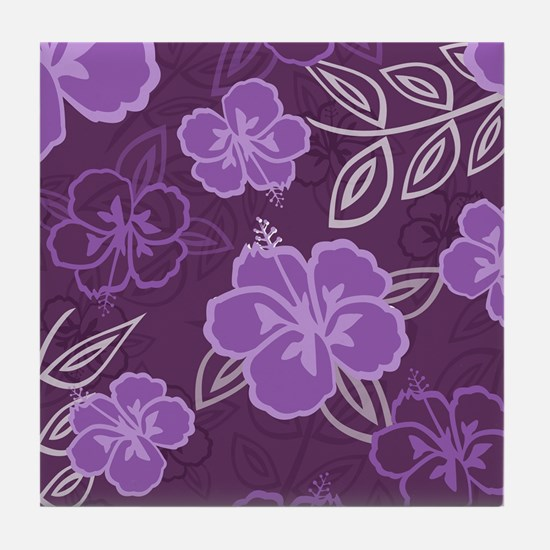 Hawaiian Hibiscus Pattern Purple Tile Coaster