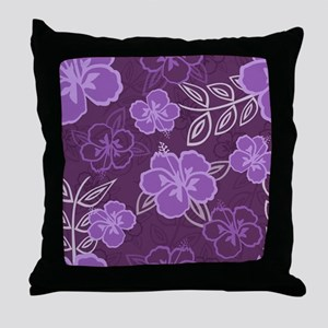 Hawaiian Hibiscus Pattern Purple Throw Pillow