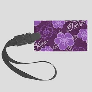Hawaiian Hibiscus Pattern Purple Large Luggage Tag
