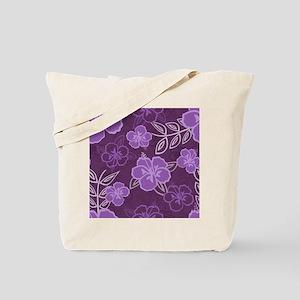 Hawaiian Hibiscus Pattern Purple Tote Bag