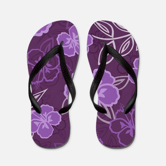 Hawaiian Hibiscus Pattern Purple Flip Flops