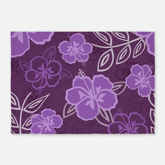 Hawaiian Hibiscus Pattern Purple 5'x7'Area Rug