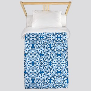 Dazzling Blue & White Lace 2 Twin Duvet