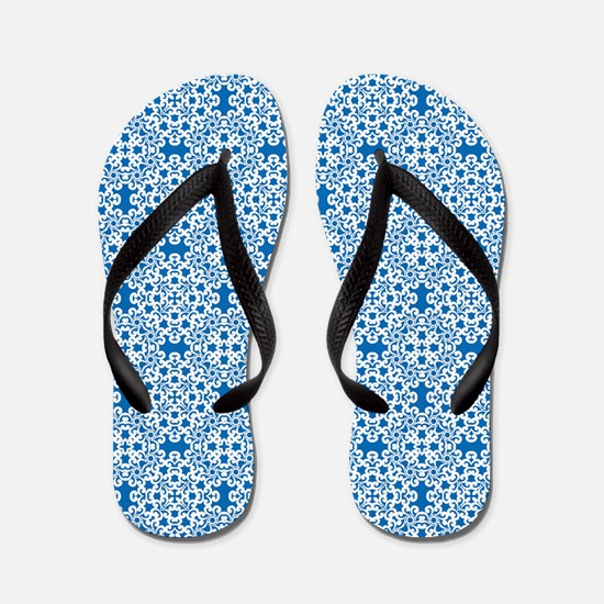 Dazzling Blue & White Lace 2 Flip Flops