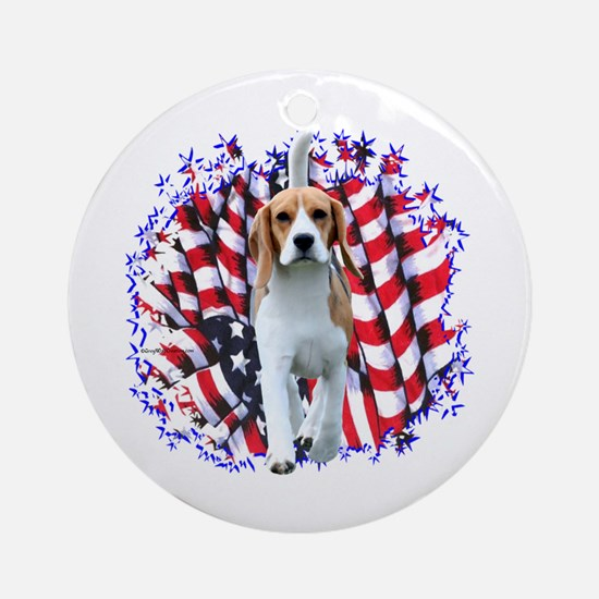 Beagle Patriot Ornament (Round)