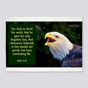 Talking Eagle (Left) - John 3:16 5'x7'Area Rug