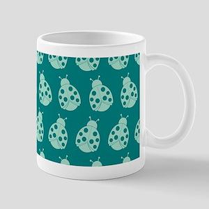 Teal Cute Ladybugs Pattern Mug