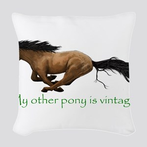 my other pony is vintage Woven Throw Pillow