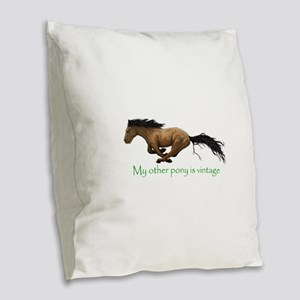my other pony is vintage Burlap Throw Pillow