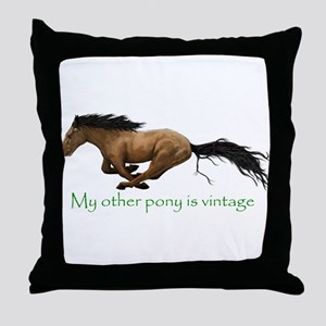 my other pony is vintage Throw Pillow