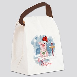 Merry Christmas Pig North Pole Canvas Lunch Bag