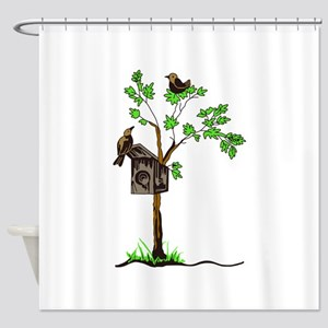 BIRDS WITH NESTING BOX Shower Curtain