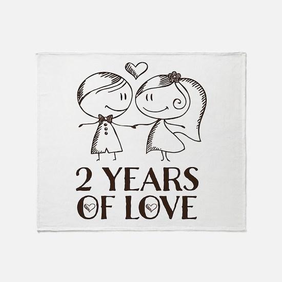 2nd Anniversary chalk couple Throw Blanket