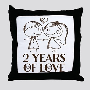2nd Anniversary chalk couple Throw Pillow
