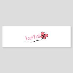 Personalizable Pink Butterfly Bumper Sticker