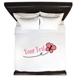 Personalizable Pink Butterfly King Duvet