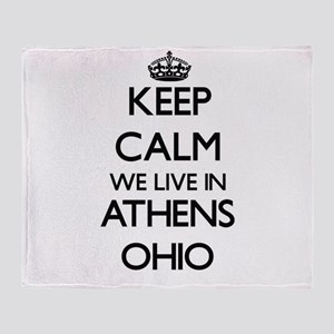 Keep calm we live in Athens Ohio Throw Blanket