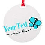 Personalizable Teal and Black Butterfly Ornament