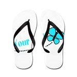 Personalizable Teal and Black Butterfly Flip Flops