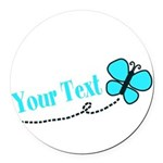 Personalizable Teal and Black Butterfly Round Car