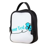 Personalizable Teal and Black Butterfly Neoprene L