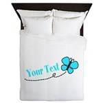 Personalizable Teal and Black Butterfly Queen Duve