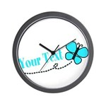 Personalizable Teal and Black Butterfly Wall Clock