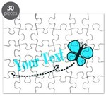 Personalizable Teal and Black Butterfly Puzzle
