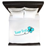 Personalizable Teal and Black Butterfly King Duvet