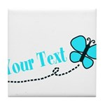 Personalizable Teal and Black Butterfly Tile Coast
