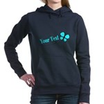 Personalizable Teal and Black Butterfly Women's Ho