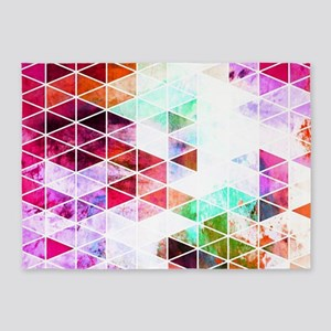 Pink Grungy Triangle Design 5'x7'Area Rug