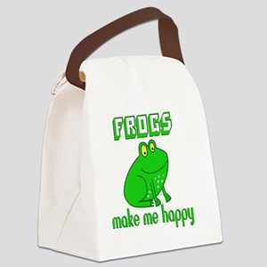 Frogs Make Me Happy Canvas Lunch Bag
