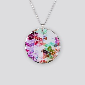 Pink Grungy Triangle Design Necklace Circle Charm